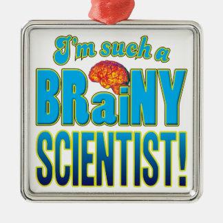 Cerebro inteligente del científico adorno cuadrado plateado