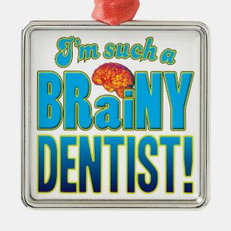 Cerebro inteligente del dentista adorno cuadrado plateado