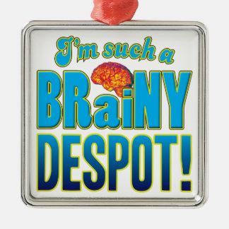 Cerebro inteligente del déspota adorno cuadrado plateado
