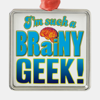 Cerebro inteligente del friki adorno cuadrado plateado