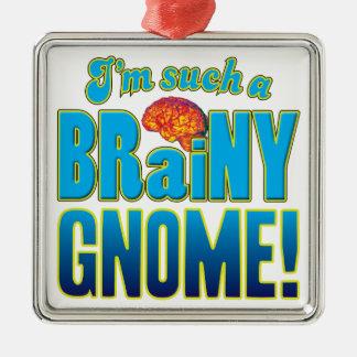 Cerebro inteligente del gnomo adorno cuadrado plateado