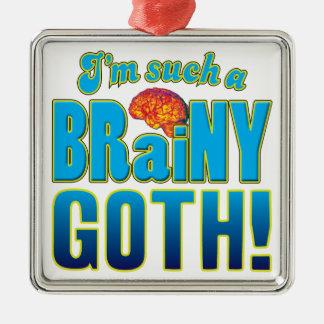 Cerebro inteligente del gótico adorno cuadrado plateado
