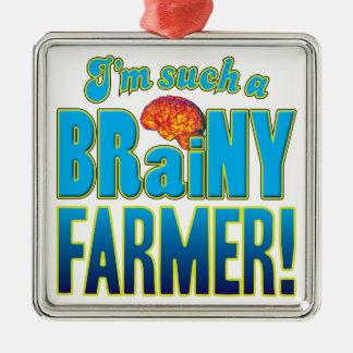 Cerebro inteligente del granjero adorno cuadrado plateado