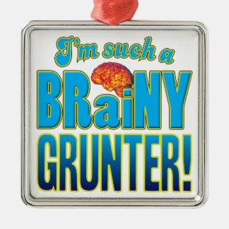 Cerebro inteligente del gruñón adorno cuadrado plateado