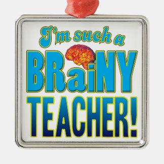 Cerebro inteligente del profesor adorno cuadrado plateado