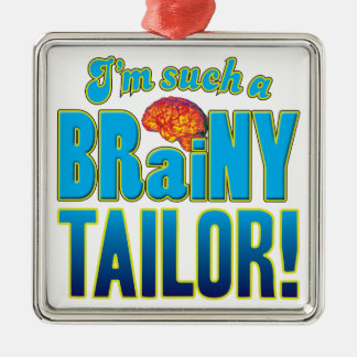 Cerebro inteligente del sastre adorno cuadrado plateado