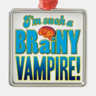 Cerebro inteligente del vampiro adorno cuadrado plateado