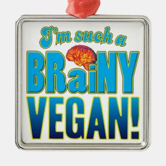 Cerebro inteligente del vegano adorno cuadrado plateado