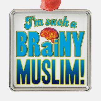 Cerebro inteligente musulmán adorno cuadrado plateado