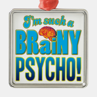 Cerebro inteligente psico adorno cuadrado plateado
