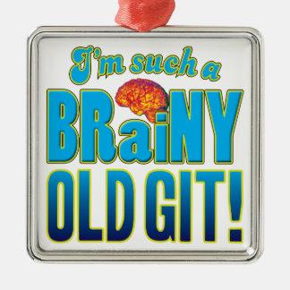 Cerebro inteligente viejo de Git Adorno Cuadrado Plateado