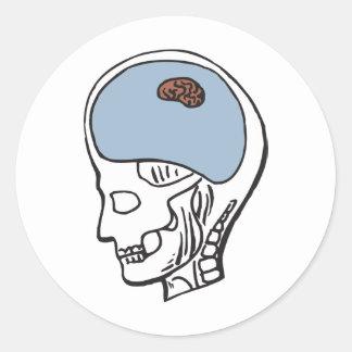 Cerebro minúsculo pegatina redonda