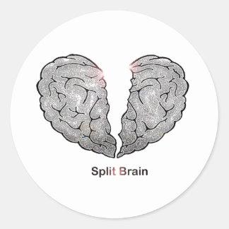 Cerebro partido pegatina redonda