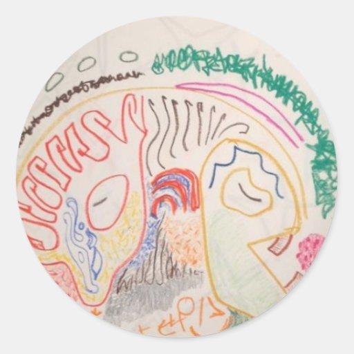 Cerebro Pegatina Redonda