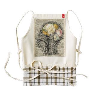 Cerebro por completo de las flores, arte del delantal zazzle HEART