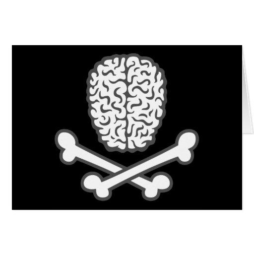 Cerebro y bandera pirata tarjeta de felicitación