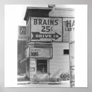 Cerebros 25 centavos B W Posters