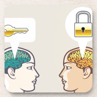 Cerebros cerradura y llave posavaso