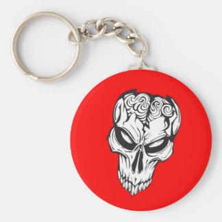 Cerebros dañados del cráneo llavero redondo tipo pin