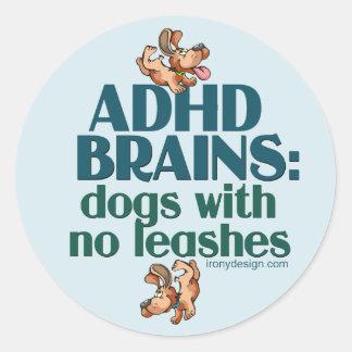 CEREBROS DE ADHD PEGATINA REDONDA