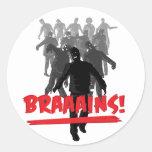 Cerebros de la horda del zombi etiqueta