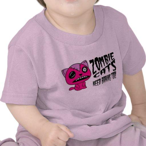 ¡cerebros de la necesidad de los gatos del zombi camiseta