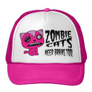 ¡Cerebros de la necesidad de los gatos del zombi t Gorro De Camionero