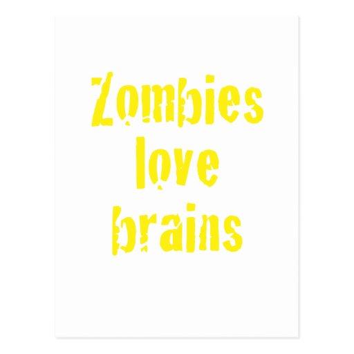 Cerebros del amor de los zombis postales