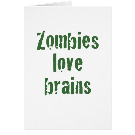 Cerebros del amor de los zombis tarjeta de felicitación