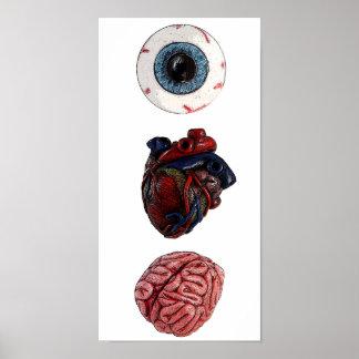 Cerebros del corazón del ojo póster