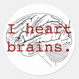 Cerebros del corazón I Pegatina Redonda