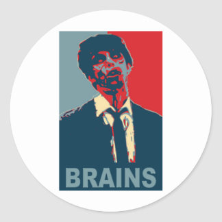Cerebros del zombi pegatina redonda