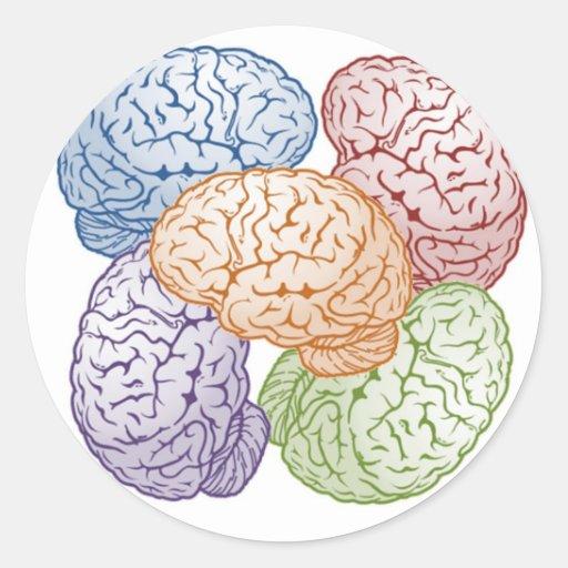 Cerebros Pegatina Redonda