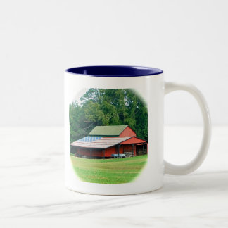 Ceremic Mug, Blue lined, Right Handed Two-Tone Coffee Mug