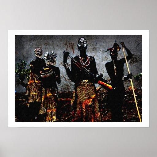 Ceremonia africana de la caza posters