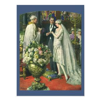 Ceremonia de boda de la iglesia del vintage; Novia Invitación 16,5 X 22,2 Cm