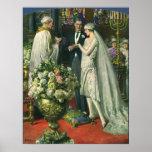 Ceremonia de boda de la iglesia del vintage; Novia Póster