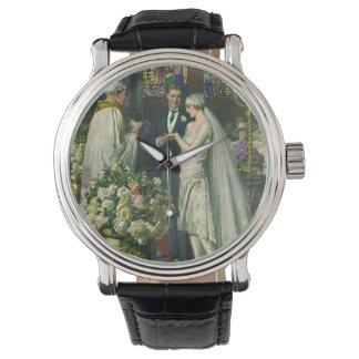 Ceremonia de boda de la iglesia del vintage; Novia Reloj De Mano