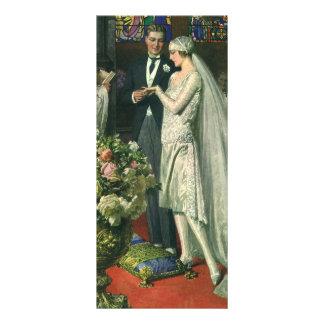 Ceremonia de boda de la iglesia del vintage; Novia Tarjeta Publicitaria A Todo Color