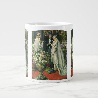 Ceremonia de boda de la iglesia del vintage; Novia Taza De Café Gigante