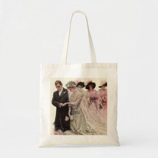 Ceremonia de boda del Victorian del vintage, novio Bolsa Tela Barata