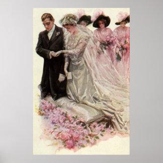 Ceremonia de boda del Victorian del vintage novio Poster