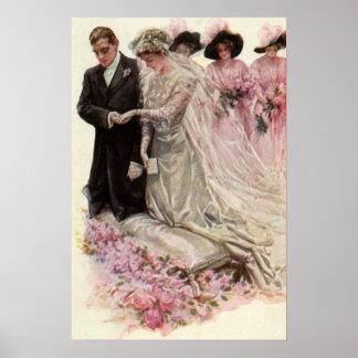Ceremonia de boda del Victorian del vintage, novio Póster