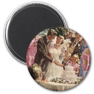 Ceremonia de boda del vintage imán redondo 5 cm
