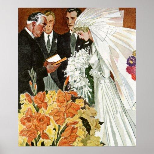 Ceremonia de boda del vintage, recienes casados de posters