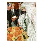 Ceremonia de boda del vintage, recienes casados de postales