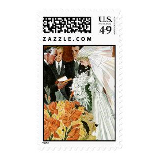 Ceremonia de boda del vintage, recienes casados estampillas