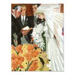 Ceremonia de boda del vintage, recienes casados invitacion personalizada