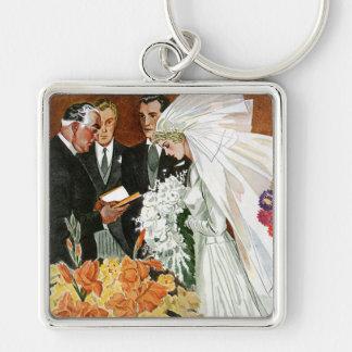 Ceremonia de boda del vintage, recienes casados llavero cuadrado plateado
