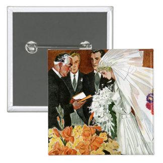 Ceremonia de boda del vintage, recienes casados pin cuadrado